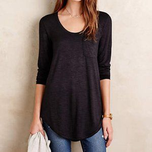 Pure + Good Slubbed Baseball Tee Black